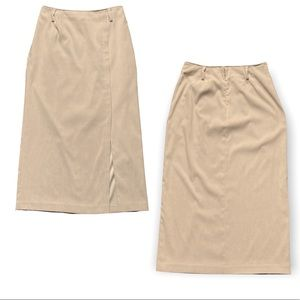 Ladies Warm Beige Lined Skirt with Belt Loops & Front Side Slit
